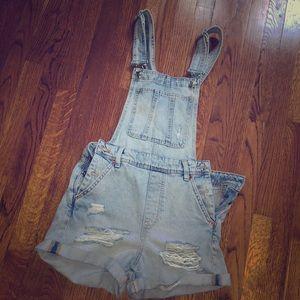 Jean short denim overalls
